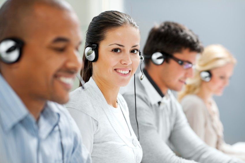 workers answering client phone calls