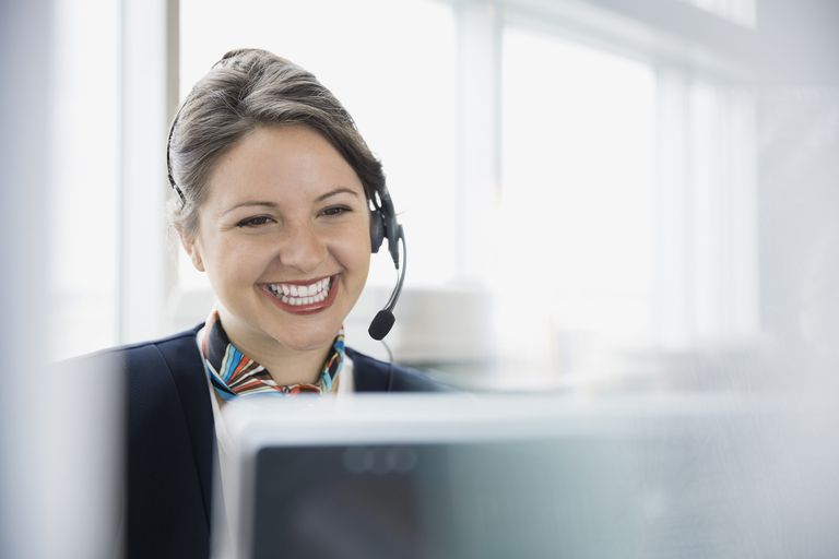 happily smiling women ready to take calls