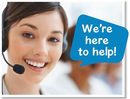 we're here to help says happy women ready to take calls
